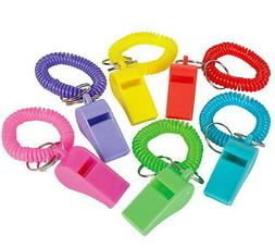 LOT OF 12 SPIRAL WHISTLE KEYCHAINS KEY CHAIN WRIST COIL CHAI