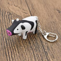 Lovely Cow Key Chain with LED Light Animal Sound Keychain No