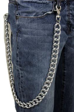 Men Wallet Chain Silver Chunky Metal Thick Links Long Key Tr