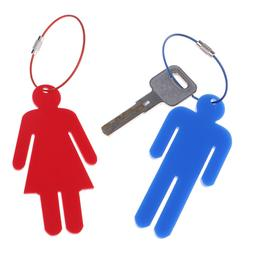 Mens Womens Acrylic Restroom Keychain Tag for Office Bathroo