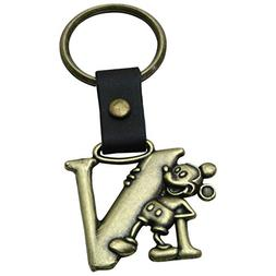 Mickey Mouse Letter N Brass Key Chain