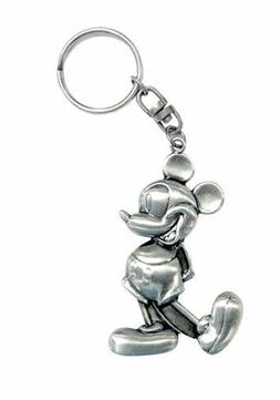 Disney Mickey Mouse Standing Retro Pewter Keyring Keychain