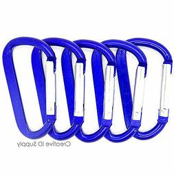 "NEW 100 BLUE CARABINER SPRING CLIP KEY CHAIN 2.25"" ANODIZED"