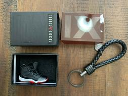 NEW AIR JORDAN RETRO 11 BRED 3D  LEATHER KEY CHAIN  W/BOX BL