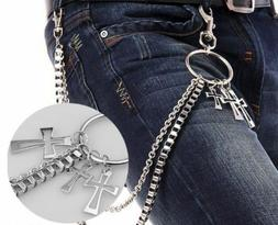 NEW! Men Double Link Cross Pants Wallet Chains Biker Trucker