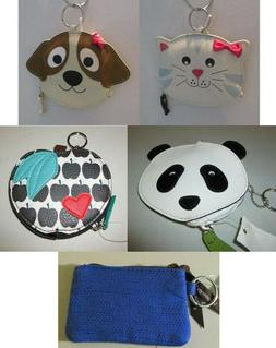 Novelty Coin Purses with Key Chains - NWT - Panda, Dog, Cat,