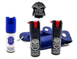 Police Magnum Pepper Spray 2 Pack 1/2oz Keychain B Holster C