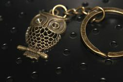 """OWL KEYCHAIN Full Metal Antique Bronze color 1.25"""" tall Wisd"""