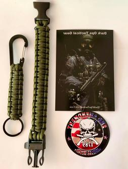 Paracord Survival Bracelet+ Keychain+ Decal...Dark Ops Tacti