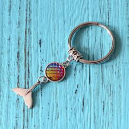 Pearlescent Mermaid Fish Scales Dolphin Fin Key Chain Ring W