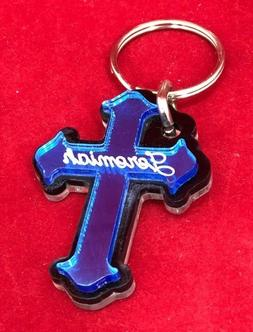 Personalized Cross Key Chain Custom Name Engrave Free keycha