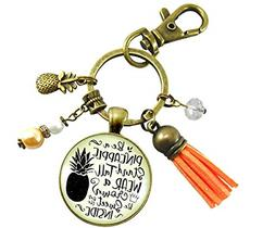 Pineapple Keychain Stand Tall Glam Quote Women's Tropical In