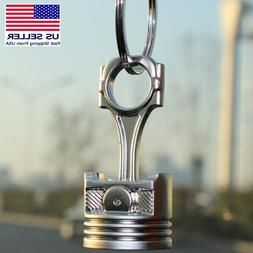 Piston Keychain Connecting Rod Car Engine Silver Metal 3D Ke