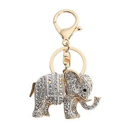 Whitelotous Popular Inlaid Color Cast Elephant Key Ring - Rh