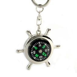 Pausseo Portable Alloy Silver Nautical Compass Helm Keychain