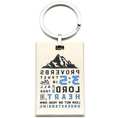 Proverbs 3:5 Christian Engraved Keychain with Bible Verse -