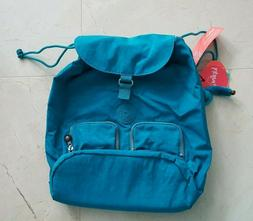 Kipling Raychel Nylon Laptop Backpack Turquoise Blue with Mo