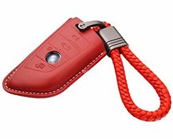 Real Leather Smart Key Case Cover Trim w/ Key Chain fit BMW