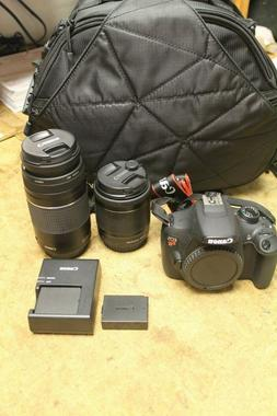 Canon Rebel T5 18MP DSLR Camera with 18-55mm & 75-300mm lens