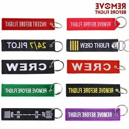 Remove Before Flight OEM Key Chains Berloques Red Embroidery
