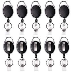 Retractable Badge Reel with Carabiner Belt Clip and Key Ring