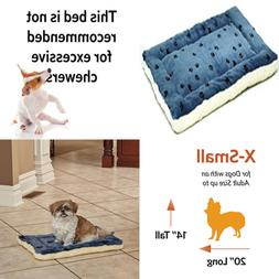 Reversible Paw Print Pet Bed In BLUE/WHITE Dog Measures 21L