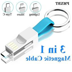 Short keychain USB Magnetic Cable 3in1 Micro USB Type C ligh