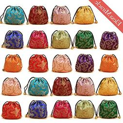 Elesa Miracle 24pcs Silk Brocade Jewelry Pouch Bag, Drawstri