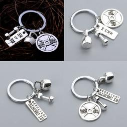 Silver Dumbbell Key Ring Keychain Gym Exercise Fitness Charm