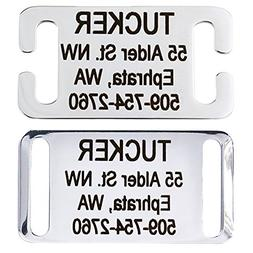 Slide-On Pet ID Tags. Personalized Dog & Cat Tags. Silent, N