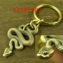 Solid Brass Viper snake Punk Biker as Key chain or Sweater c