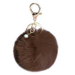 DZT1968® Solid Color Imitate Rabbit Fur Ball Keychain Handb