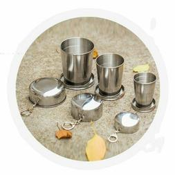 Stainless Steel Collapsible Folding Cups Mug Portable Keycha