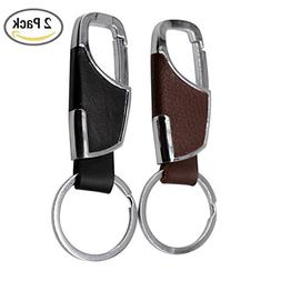 2-Pack Stainless Steel Key Chain with Leather Heavy Duty Hom