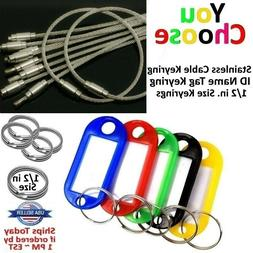 Stainless Steel Key Ring Tag Wire Plastic Key Chain ID Name