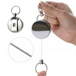 Steel Wire Rope Elastic Key Chain Recoils Retractable Anti L