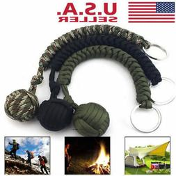 Tactical Outdoor Paracord Self Defense Keychain Lanyard Stee