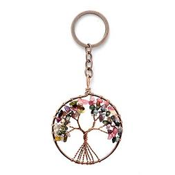 Joya Gift Tree of Life Key Chain Natural Tourmaline Crystal