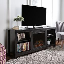New 58 Inch TV Stand with Fireplace in Black Finish