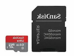 SanDisk Ultra 64GB microSDXC UHS-I Card with Adapter Grey/Re