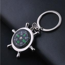 Unisex Fashion Compass Metal Car Keyring Keychain Key Chain