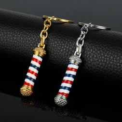Unisex Jewelry Key Chains Barber Pole KeyRings Hairdresser