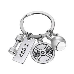 iDMSON Unisex Stainless Steel Keyring Body Weight Lifting Fi