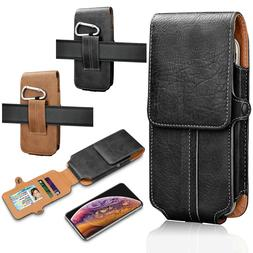 Universal PU Leather Belt Loop Holster Card Slots Pouch Carr
