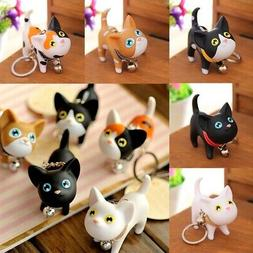 US Cute Cartoon PVC Cat Key Chain Self Defense Keyring Cat K