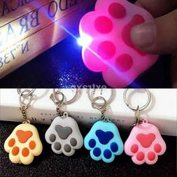 US Shipped~ Cat Kitty Paw LED Keychain with Light Meow Sound