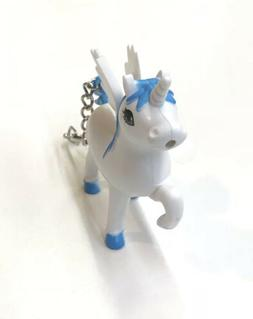 White And Blue Unicorn Keychain with LED Light and Sound
