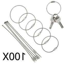 """Wholesale 100PCS 6"""" Stainless Steel Wire Cable Keychain Key"""
