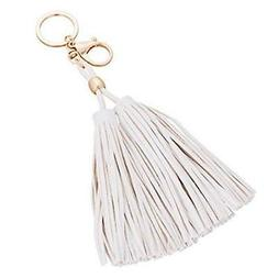 ZOONAI Women's Leather Tassels Keychain Car Key Rings Bag Wa