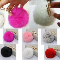 Women's Novelty Faux Rabbit Fur Ball PomPom Car Keychain Han